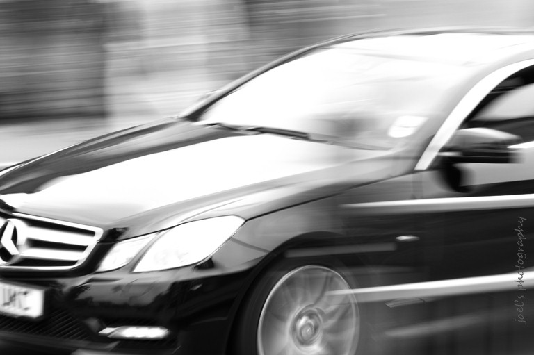 low shutter speed pic of car in B&W
